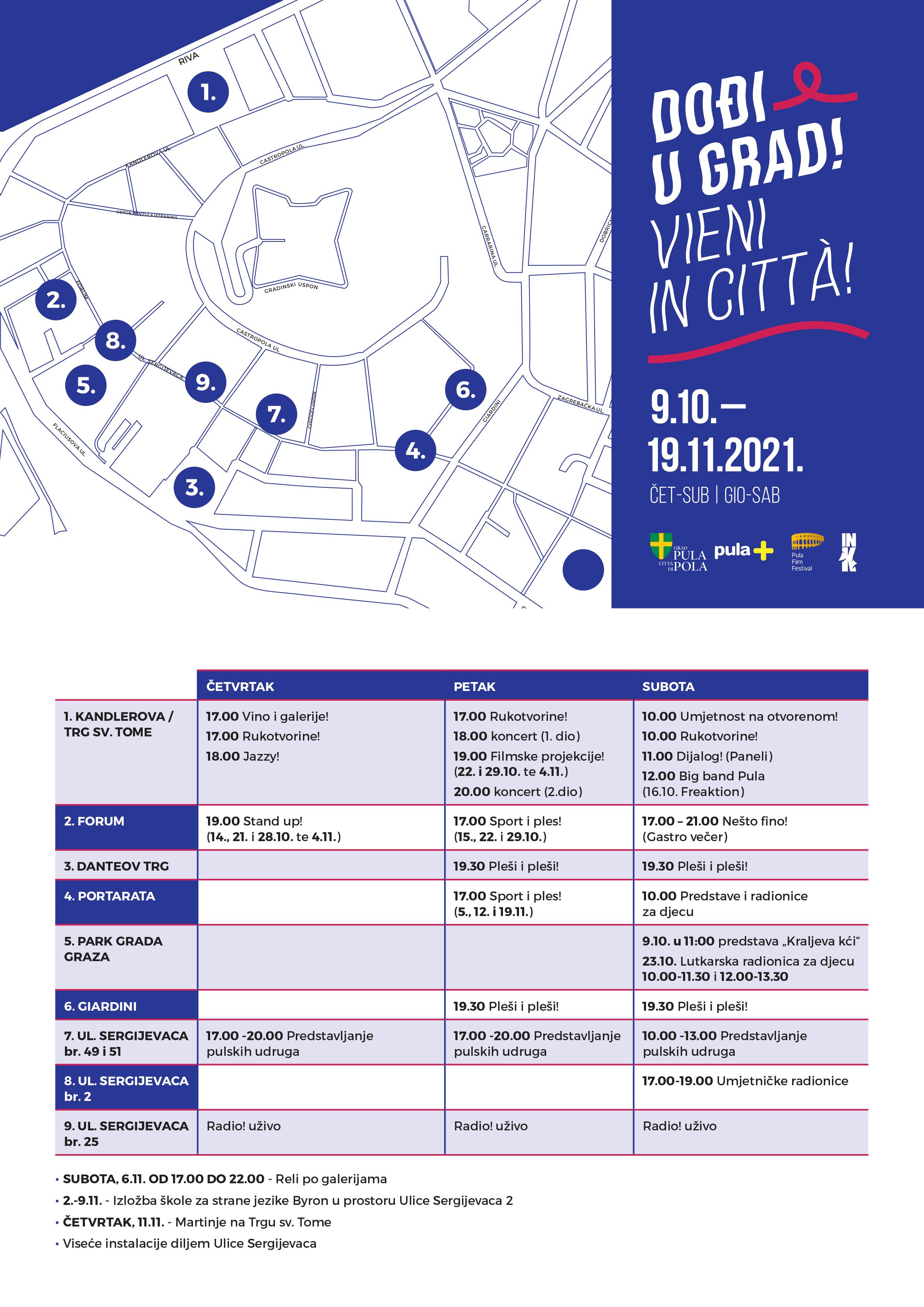 Mapa događaja Dođi u grad