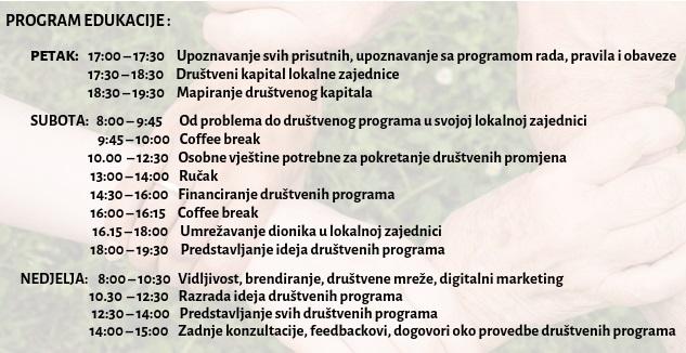 Akadenima razvoja lokanlih zajednica, Pula, program