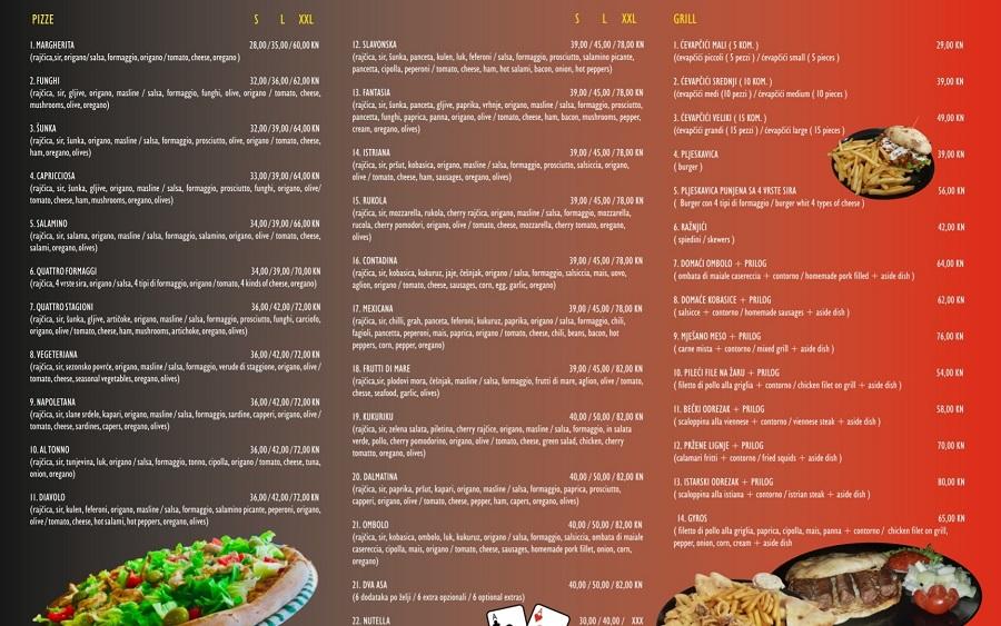Pizzeria Pečenjara 2 Asa Pula jelovnik