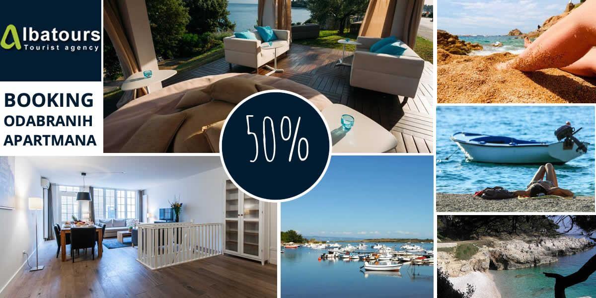 50% popusta na booking odabranih apartmana Pula/Ližnjan za razdoblja u travnju i svibnju - ALBATOURS