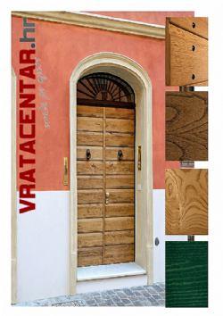 Ulazna sigurnosna vrata - masivna drvena obloga  u ISTARSKOM STILU.<br>cijena za dim. do 900x2100  9.800 kn